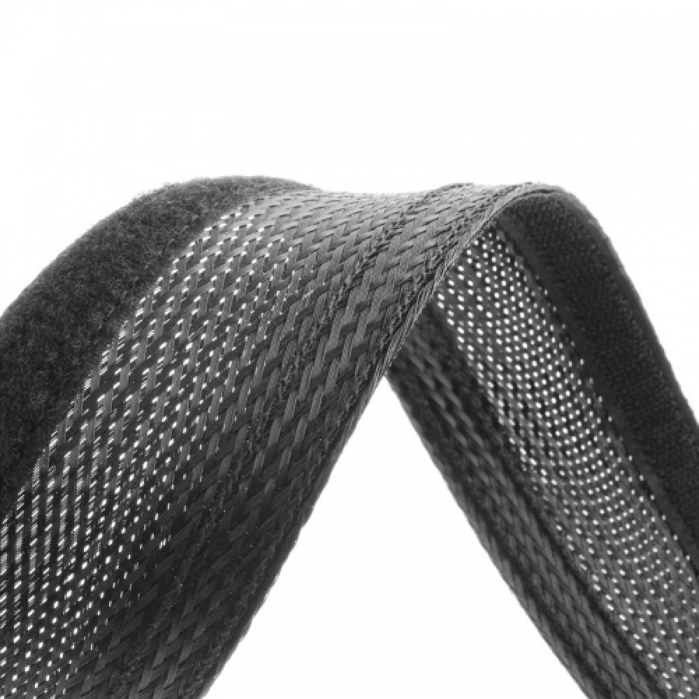 Velcro Braided Cable Flexo Wrap 18 to 31mm - 1 meter - Black - organize your cables